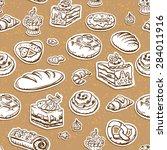 bread seamless pattern. food... | Shutterstock .eps vector #284011916