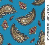 blue colorful paisley seamless | Shutterstock .eps vector #284014646