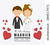 wedding card design over white... | Shutterstock .eps vector #284017472