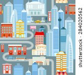 big city cartoon seamless... | Shutterstock .eps vector #284020562