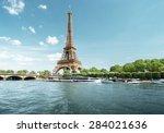 Seine In Paris With Eiffel...