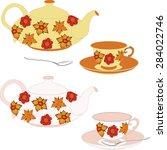 vector set of teapots and cups... | Shutterstock .eps vector #284022746