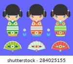 Set Of Japanese Kokeshi Dolls...