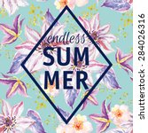 print and slogan endless summer.... | Shutterstock .eps vector #284026316
