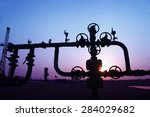 the pipe and valve oil fields  | Shutterstock . vector #284029682
