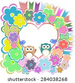 background with owl  flowers...   Shutterstock .eps vector #284038268