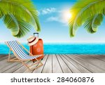 vacation background. beach with ... | Shutterstock .eps vector #284060876