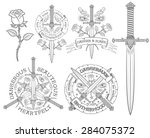 retro emblem with a dagger and... | Shutterstock .eps vector #284075372