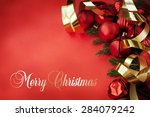 christmas card with space and... | Shutterstock . vector #284079242