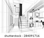 sketch design of stair hall ... | Shutterstock . vector #284091716