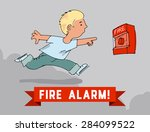 boy turns on the fire alarm... | Shutterstock .eps vector #284099522