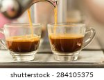coffee machine make two cups of ... | Shutterstock . vector #284105375