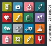 set of medical icons in flat... | Shutterstock . vector #284108708