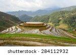 rice fields on terraced of mu... | Shutterstock . vector #284112932