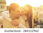 happiness couple portrait under ...   Shutterstock . vector #284112962