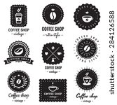 coffee shop logo badges vintage ... | Shutterstock .eps vector #284126588