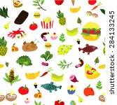 food pattern | Shutterstock .eps vector #284133245
