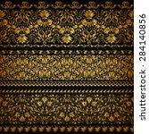 set of horizontal golden lace...   Shutterstock .eps vector #284140856