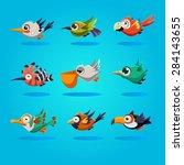 Funny Cartoon Birds  Vector...