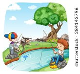 two boys fishing in the river   Shutterstock .eps vector #284143796