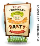 barbecue party invitation on... | Shutterstock .eps vector #284153906