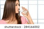 water  drinking  women. | Shutterstock . vector #284166002