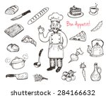 hand drawn doodle cooking set.  ... | Shutterstock .eps vector #284166632