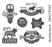 set of vector vintage leather... | Shutterstock .eps vector #284175542