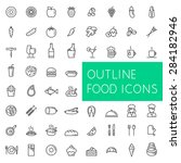 outline food icons set for web...   Shutterstock .eps vector #284182946