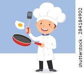 chef frying egg. chef man... | Shutterstock .eps vector #284184902