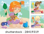 girl with toys in sling plays... | Shutterstock .eps vector #28419319