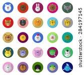 cartoon animals icons set  ...