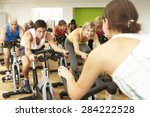 group taking part in spinning... | Shutterstock . vector #284222528