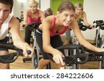 group taking part in spinning... | Shutterstock . vector #284222606