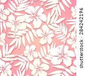 white paper tropical flowers on ... | Shutterstock .eps vector #284242196