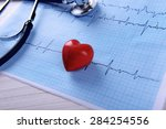 cardiogram with stethoscope and ... | Shutterstock . vector #284254556