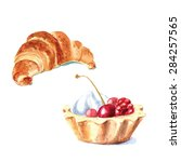 hand drawn watercolor desserts  ... | Shutterstock .eps vector #284257565