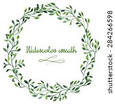 floral hand drawn green... | Shutterstock .eps vector #284266598