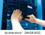 people fix server network in... | Shutterstock . vector #284281832