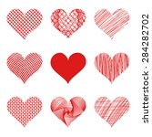 vector hearts set. nine... | Shutterstock .eps vector #284282702