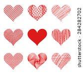 vector hearts set. nine... | Shutterstock .eps vector #284282702