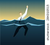 businessman is drowning in the... | Shutterstock .eps vector #284310515