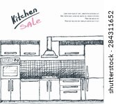modular kitchen sale. flyer ... | Shutterstock .eps vector #284311652