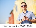 outdoor portrait of man with... | Shutterstock . vector #284312306