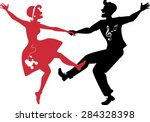 red and black silhouettes of a...