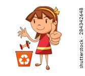 girl recycling organic waste ... | Shutterstock .eps vector #284342648