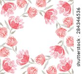 watercolor floral wreath of... | Shutterstock .eps vector #284346536