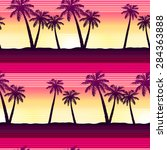tropical palms at sunset... | Shutterstock . vector #284363888