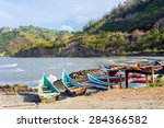 fishing boats on the northern... | Shutterstock . vector #284366582