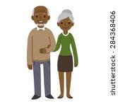 cute cartoon black senior... | Shutterstock .eps vector #284368406